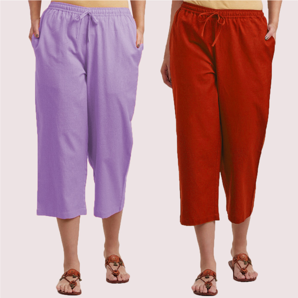 Combo of 2 Cotton Culottes Purple and Red-35227