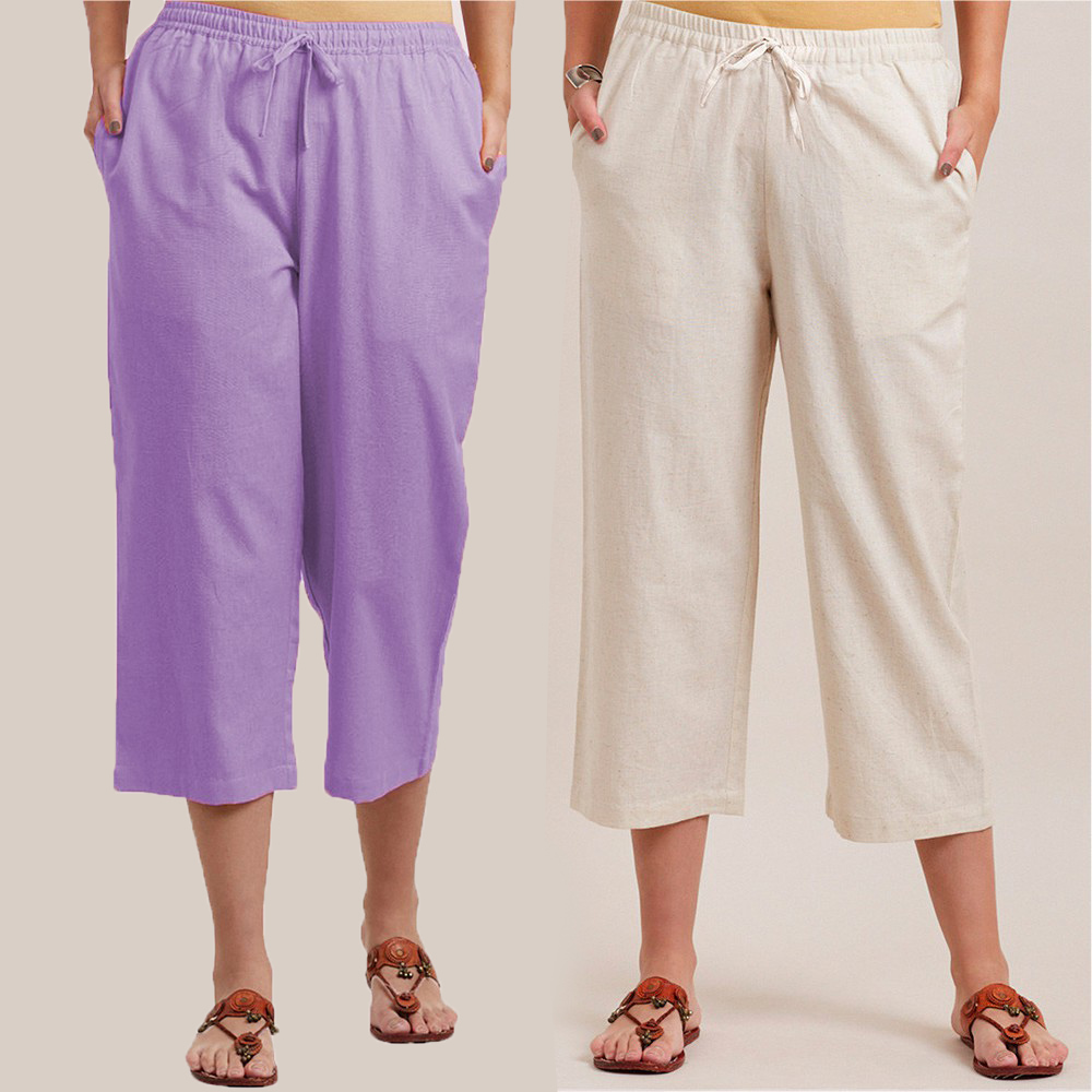 Combo of 2 Cotton Culottes Purple and White-34392