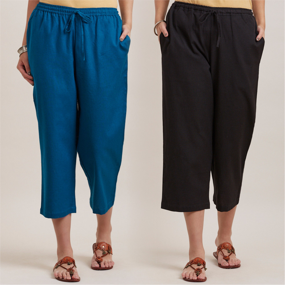 Combo of 2 Cotton Culottes Royal Blue and Black-35208