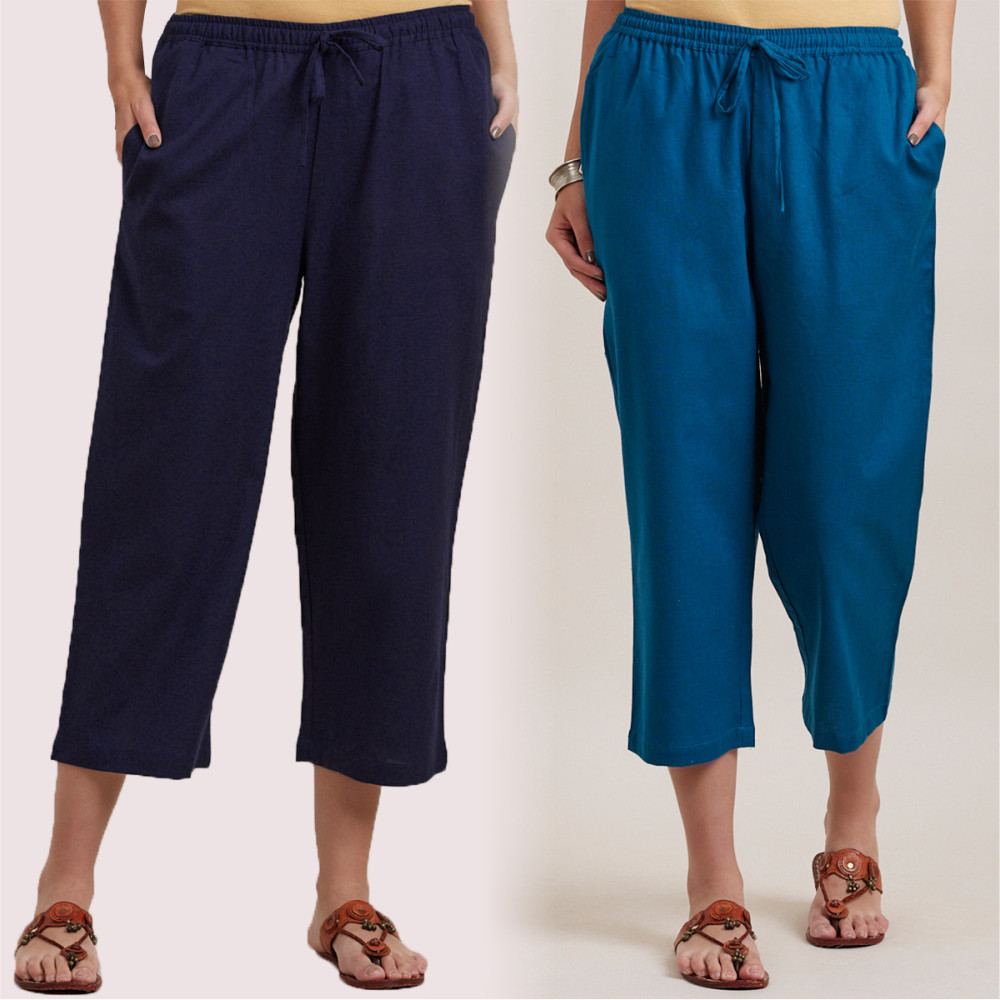 Combo of 2 Cotton Culottes Royal Blue and Blue-35217