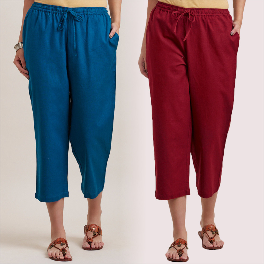 Combo of 2 Cotton Culottes Royal Blue and Wine-35229