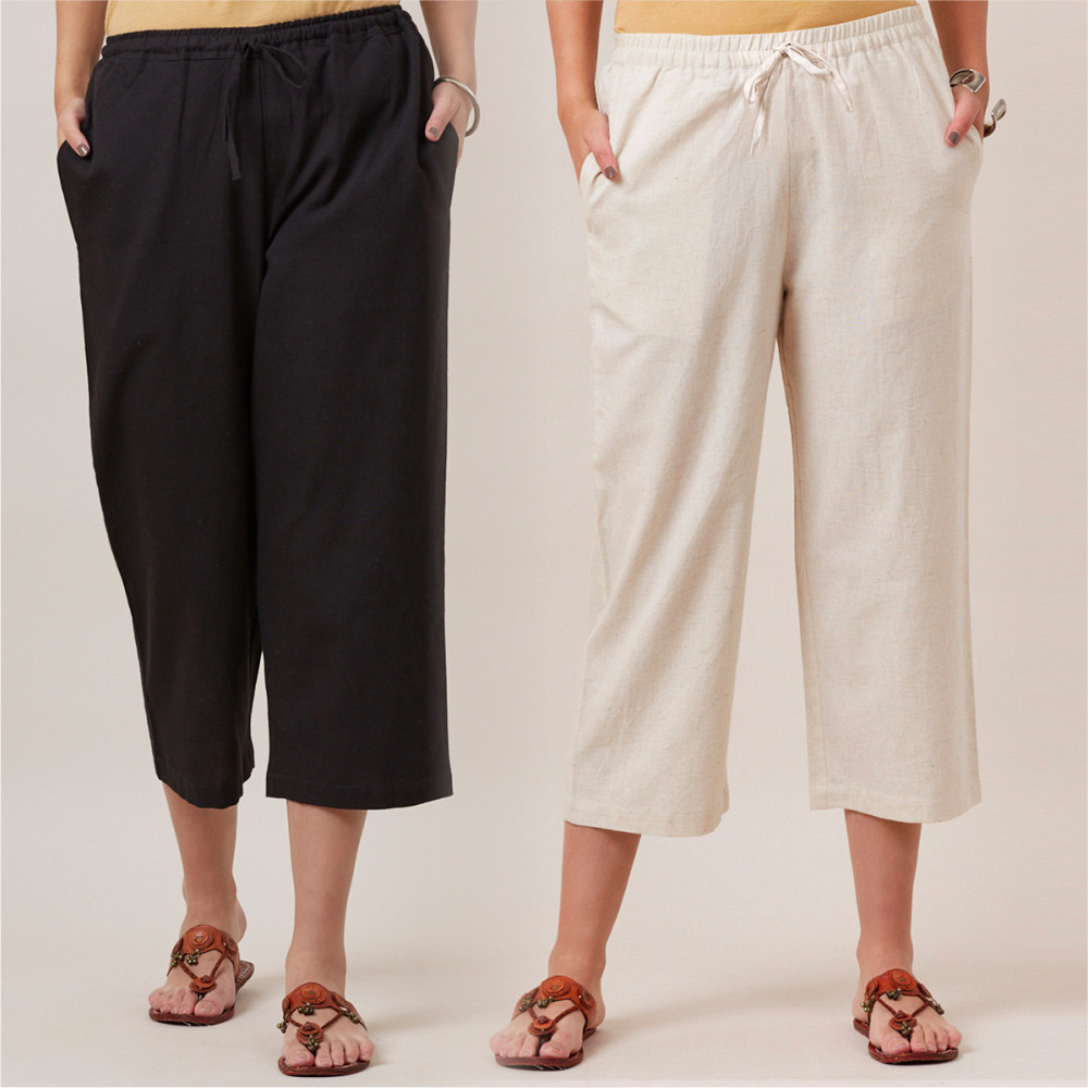 Combo of 2 Cotton Culottes White and Black-35210