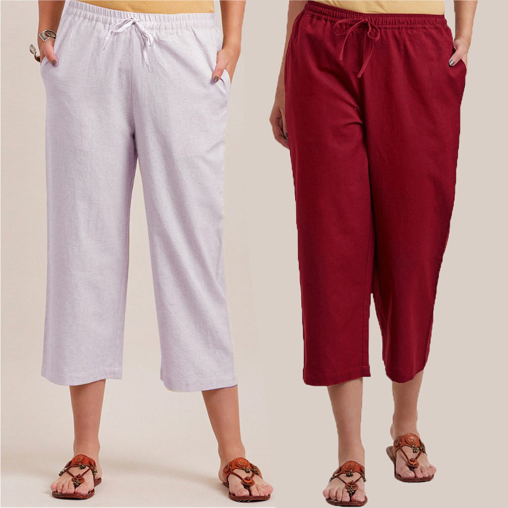 Combo of 2 Cotton Culottes White and Wine-34395