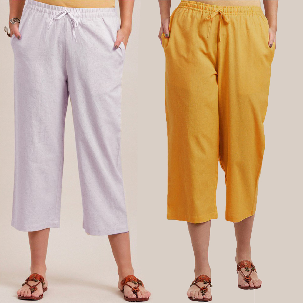 Combo of 2 Cotton Culottes White and Yellow-34391