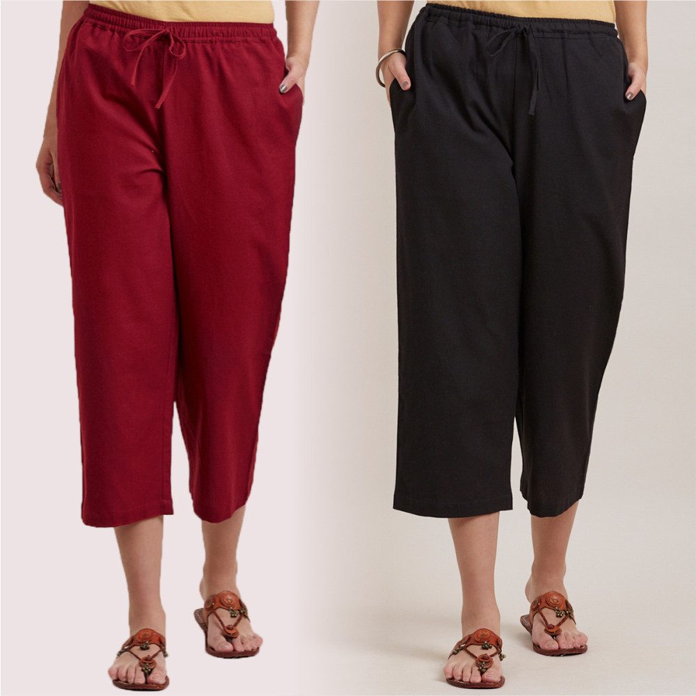 Combo of 2 Cotton Culottes Wine and Black-35211