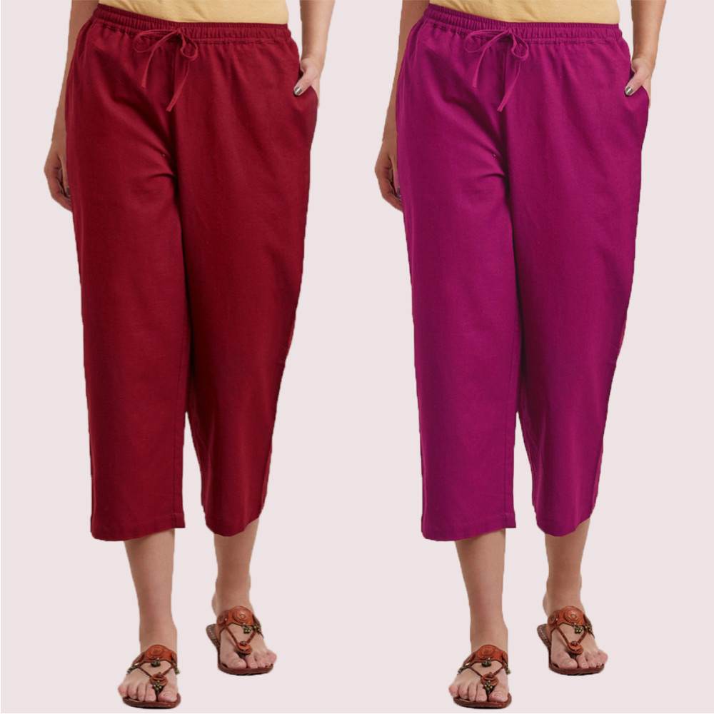 Combo of 2 Cotton Culottes Wine and Magenta Pink-35215