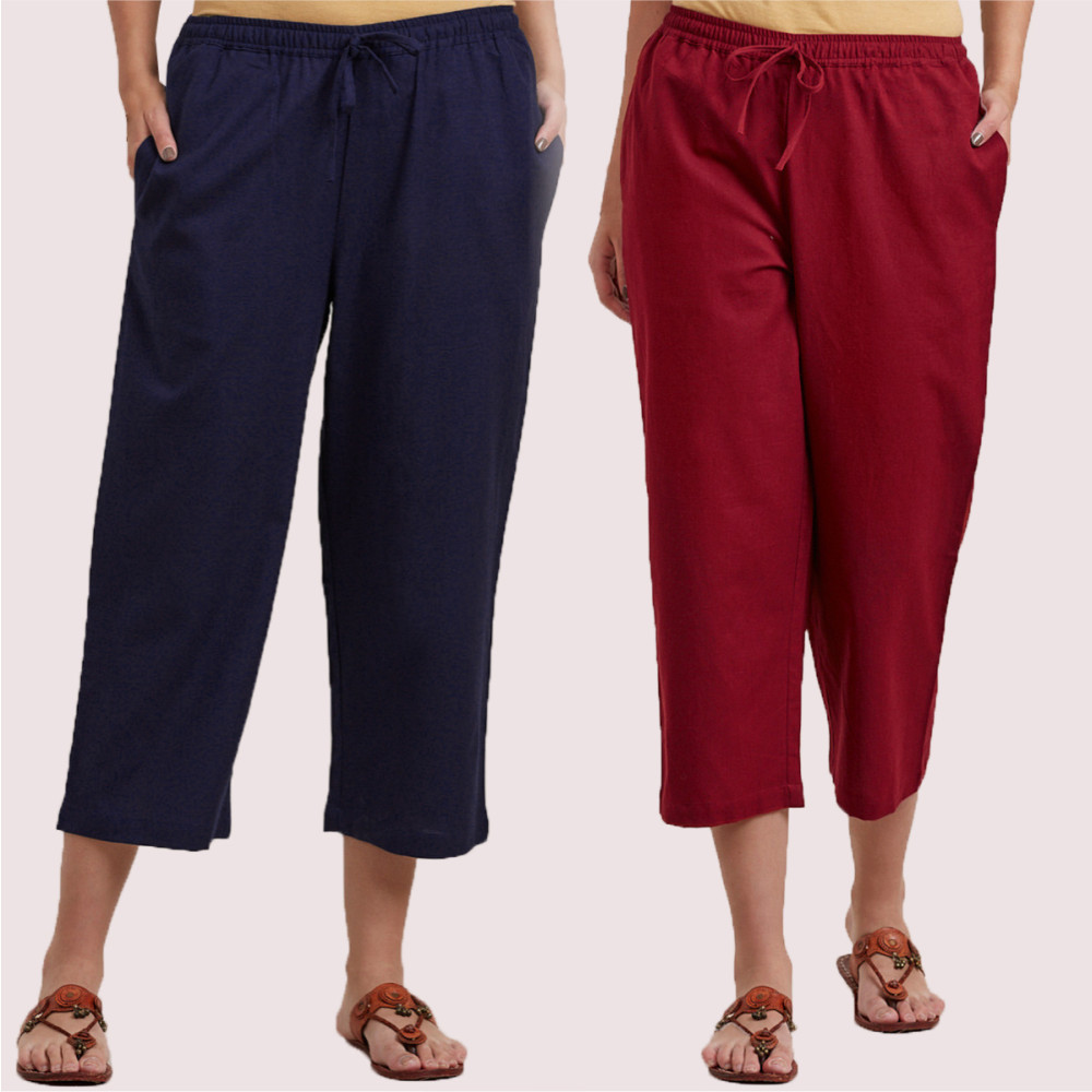 Combo of 2 Cotton Culottes Wine and Navy Blue-35219