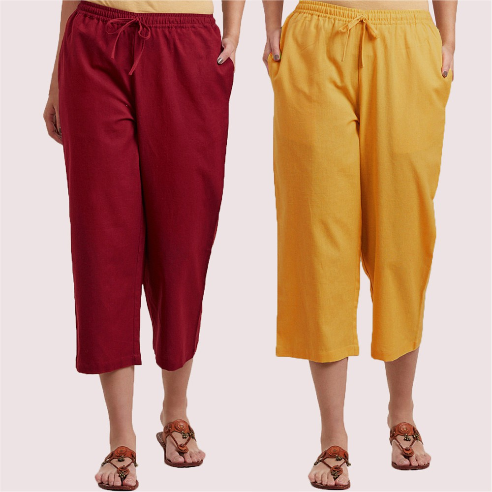 Combo of 2 Cotton Culottes Wine and Yellow-34396