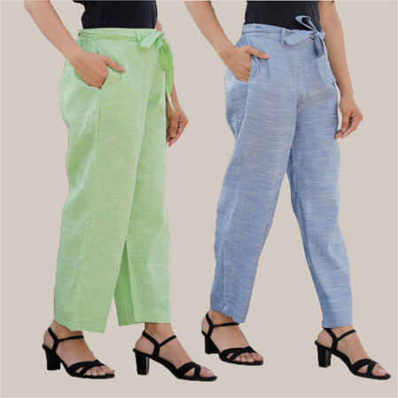 Combo of 2 Cotton Linen Handloom Pant with Belt Blue and Green-34932