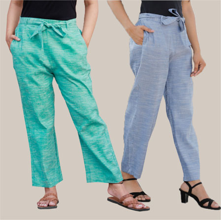 Combo of 2 Cotton Linen Handloom Pant with Belt Cyan and Blue-34927