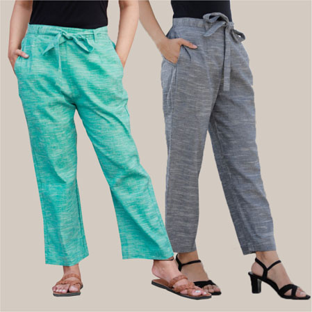 Combo of 2 Cotton Linen Handloom Pant with Belt Cyan and Gray-34926