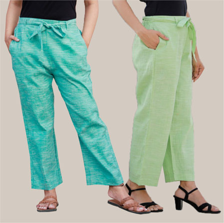 Combo of 2 Cotton Linen Handloom Pant with Belt Cyan and Green-34922