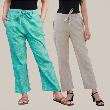 Combo of 2 Cotton Linen Handloom Pant with Belt Cyan and White-34924