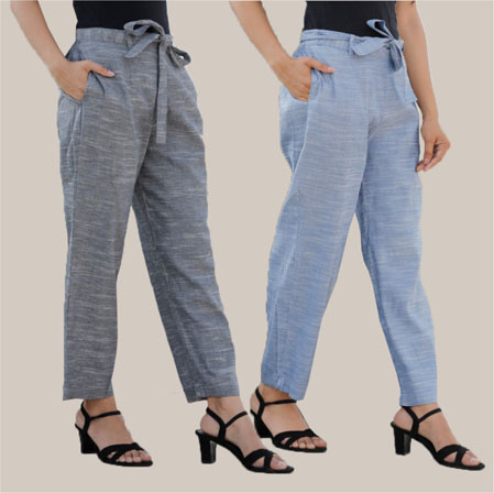 Combo of 2 Cotton Linen Handloom Pant with Belt Gray and Blue-34942
