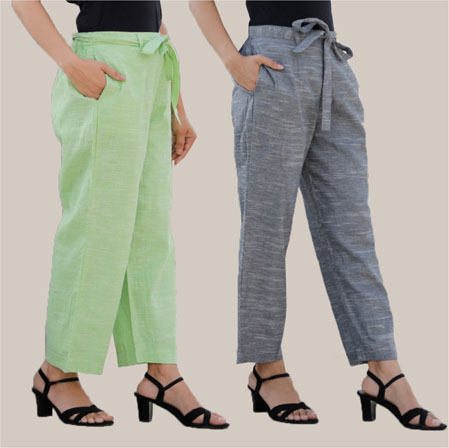 Combo of 2 Cotton Linen Handloom Pant with Belt Green and Gray-34931