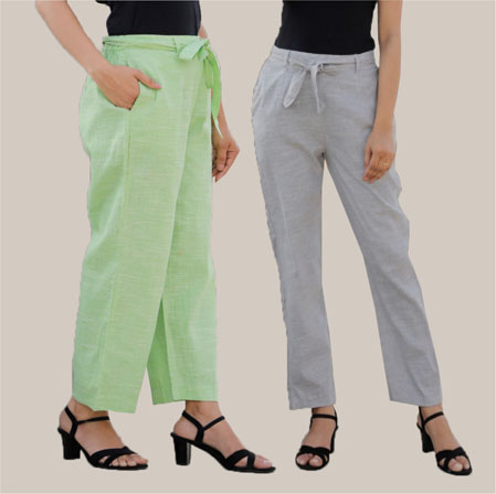 Combo of 2 Cotton Linen Handloom Pant with Belt Green and Light Gray-34930
