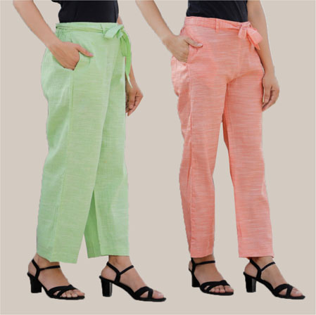 Combo of 2 Cotton Linen Handloom Pant with Belt Green and Peach-34928