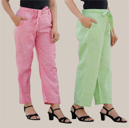 Combo of 2 Cotton Linen Handloom Pant with Belt Green and Pink-34909
