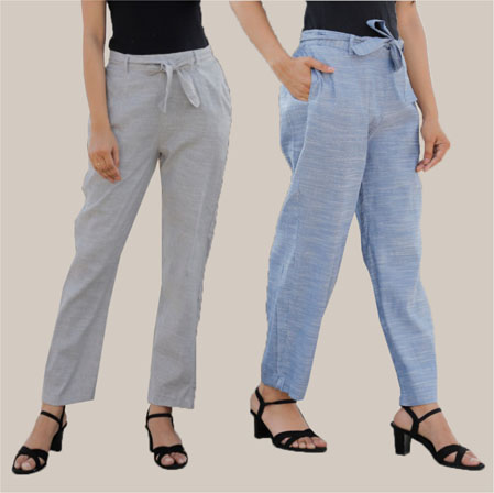 Combo of 2 Cotton Linen Handloom Pant with Belt Light Gray and Blue-34941
