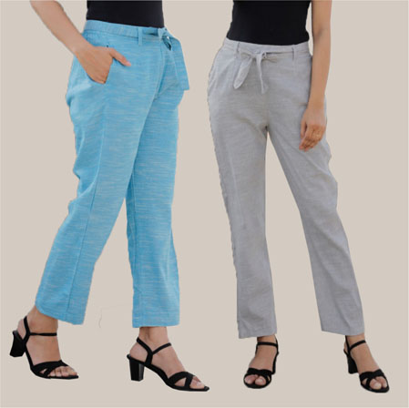 Combo of 2 Cotton Linen Handloom Pant with Belt Light Gray and Sky Blue-34919