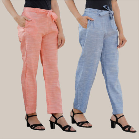 Combo of 2 Cotton Linen Handloom Pant with Belt Peach and Blue-34936