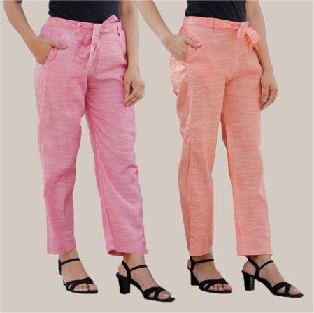 Combo of 2 Cotton Linen Handloom Pant with Belt Peach and Pink-34910