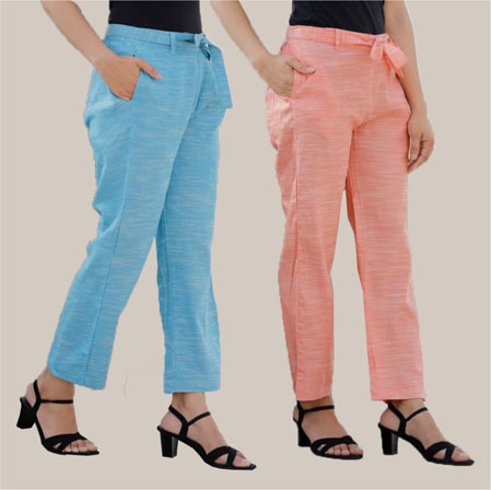 Combo of 2 Cotton Linen Handloom Pant with Belt Peach and Sky Blue-34917