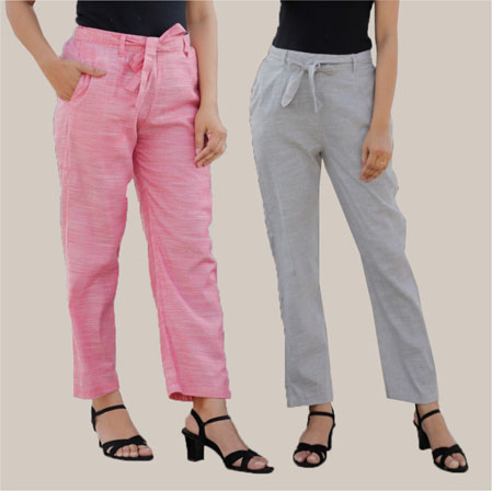 Combo of 2 Cotton Linen Handloom Pant with Belt Pink and Light Gray-34912