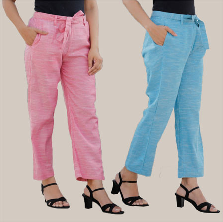 Combo of 2 Cotton Linen Handloom Pant with Belt Pink and Sky Blue-34907