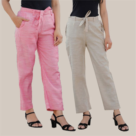 Combo of 2 Cotton Linen Handloom Pant with Belt Pink and White-34911