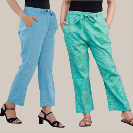 Combo of 2 Cotton Linen Handloom Pant with Belt Sky Blue and Cyan-34915