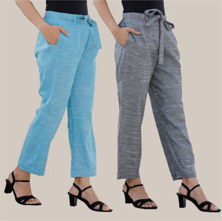 Combo of 2 Cotton Linen Handloom Pant with Belt Sky Blue and Gray-34920