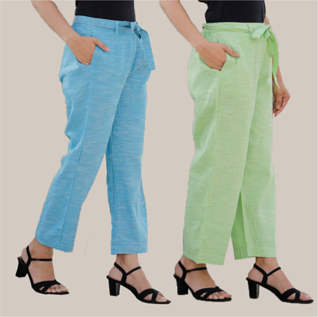 Combo of 2 Cotton Linen Handloom Pant with Belt Sky Blue and Green-34916