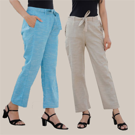 Combo of 2 Cotton Linen Handloom Pant with Belt Sky Blue and White-34918