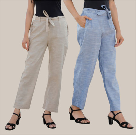 Combo of 2 Cotton Linen Handloom Pant with Belt White and Blue-34939