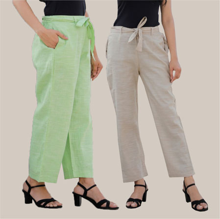 Combo of 2 Cotton Linen Handloom Pant with Belt White and Green-34929
