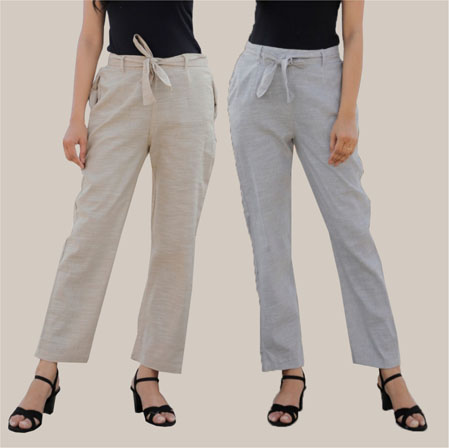 Combo of 2 Cotton Linen Handloom Pant with Belt White and Light Gray-34937