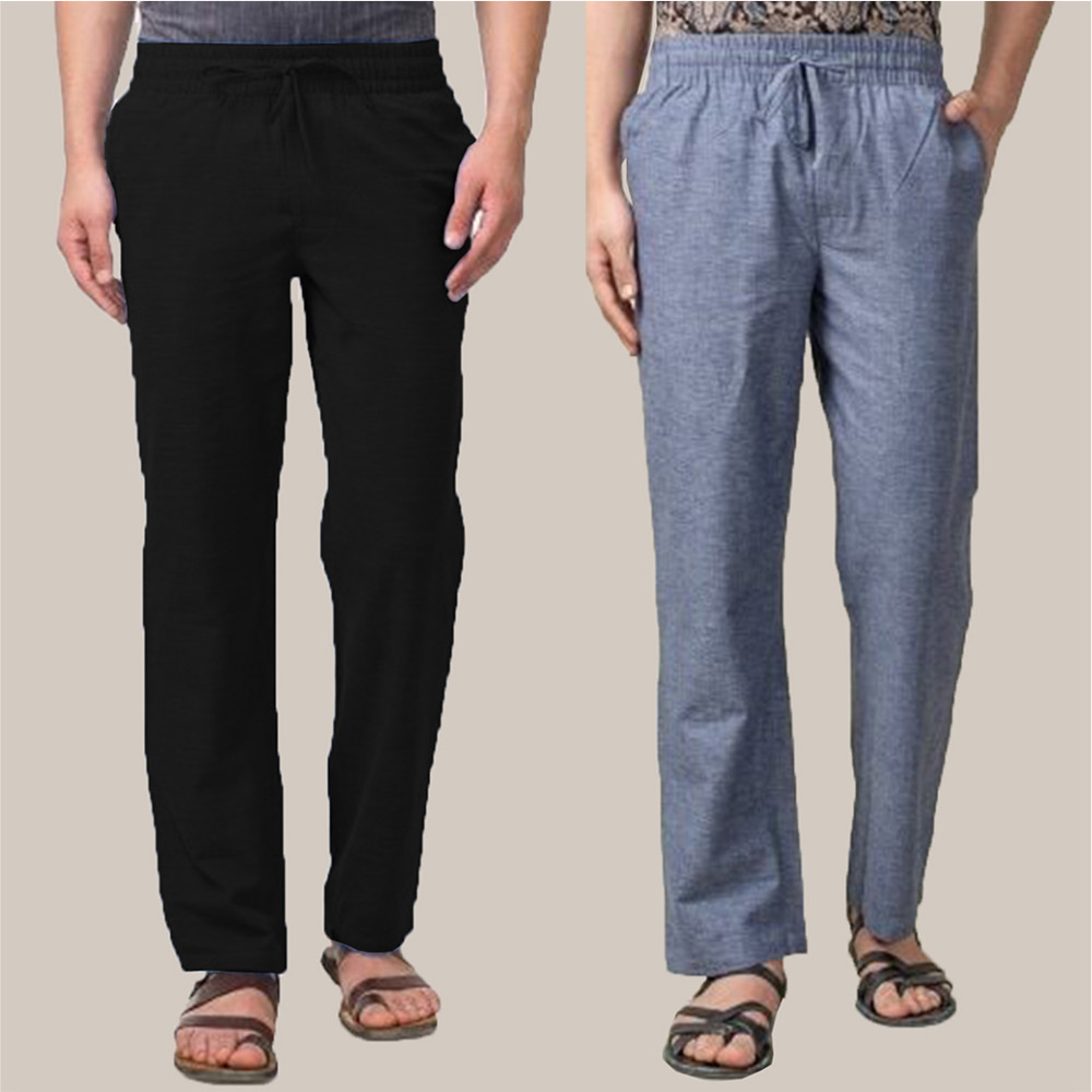 Combo of 2 Cotton Men Handloom Pant Back and Blue-34897