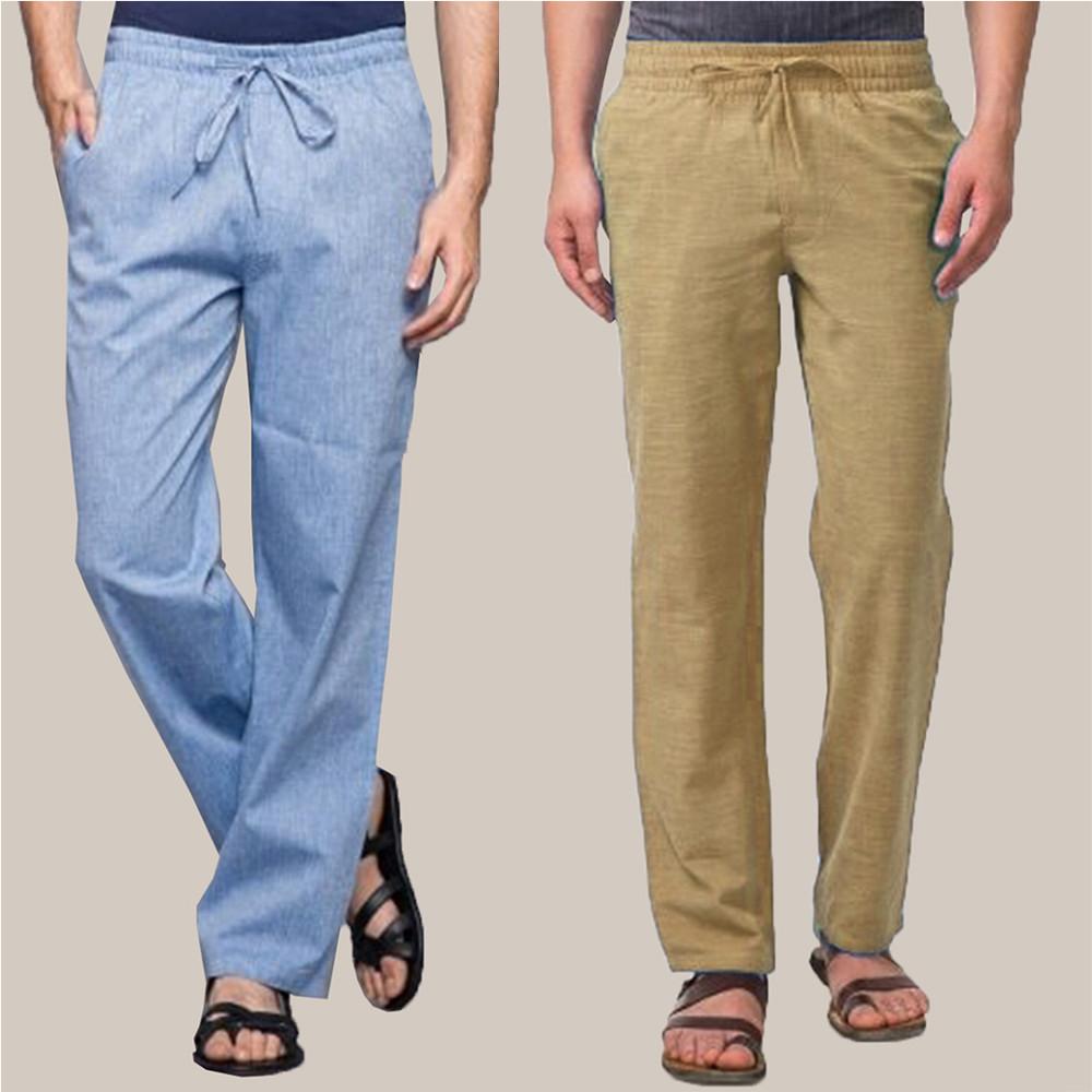 Combo of 2 Cotton Men Handloom Pant Beige and Blue-34869