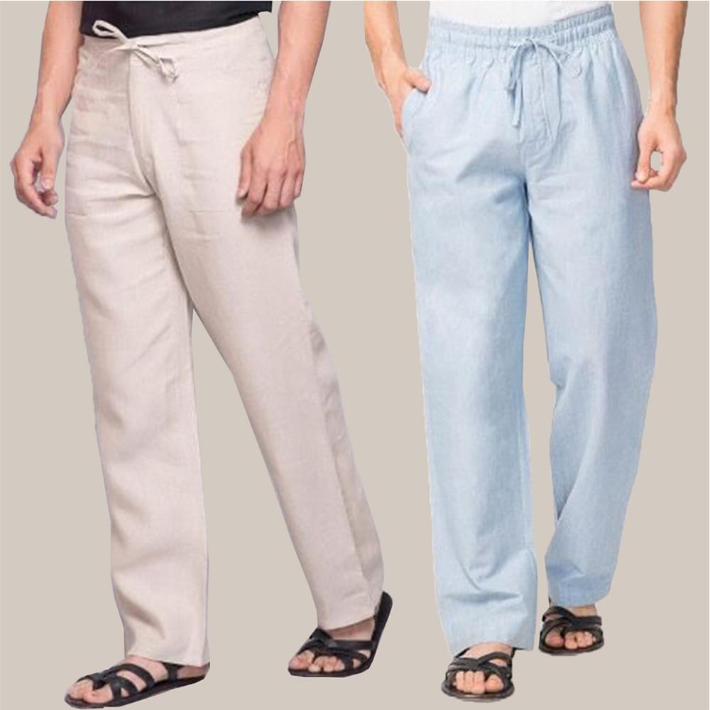 Combo of 2 Cotton Men Handloom Pant Beige and Blue-34872