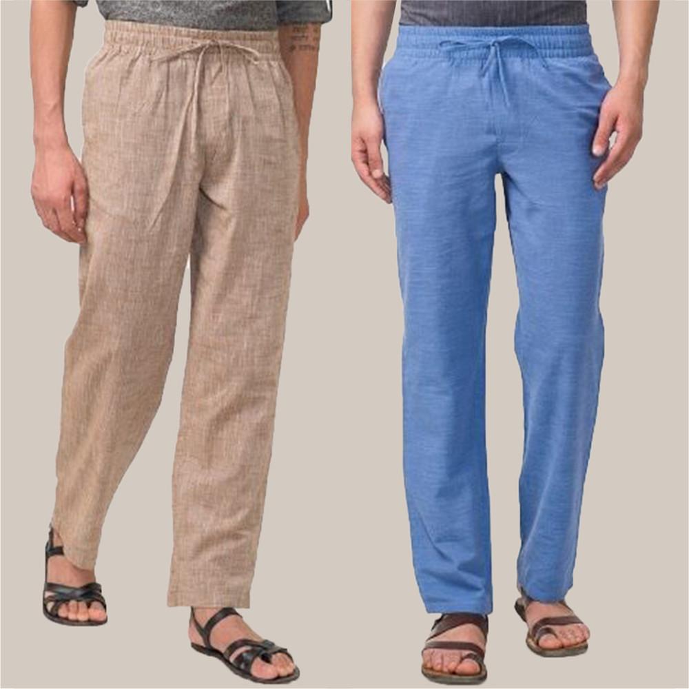 Combo of 2 Cotton Men Handloom Pant Beige and Cyan-34832