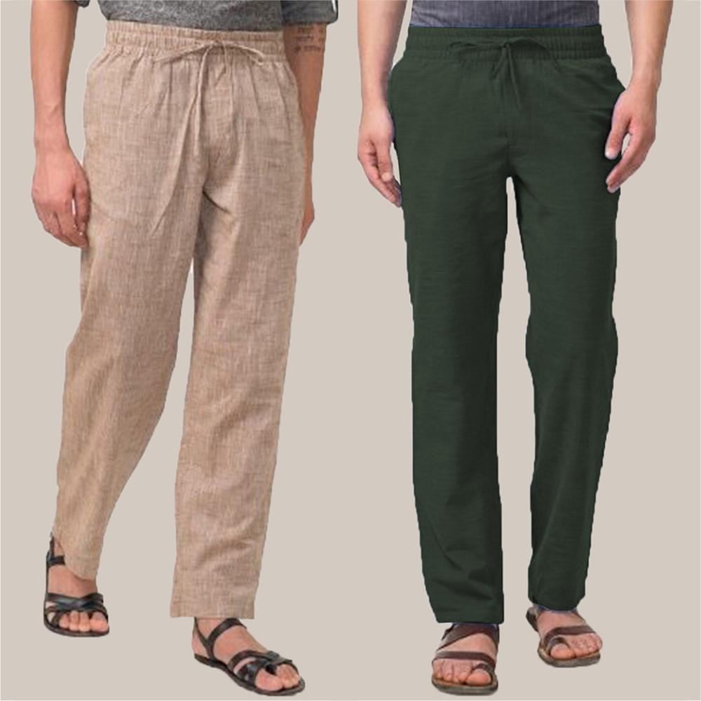 Combo of 2 Cotton Men Handloom Pant Beige and Green-34836