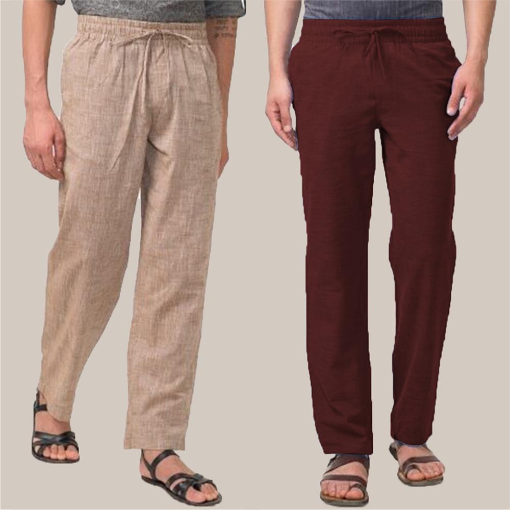 Combo of 2 Cotton Men Handloom Pant Beige and WIne-34833