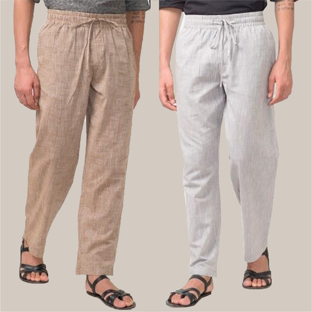 Combo of 2 Cotton Men Handloom Pant Beige and White-34828