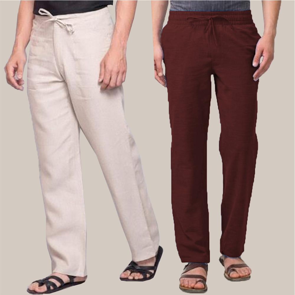 Combo of 2 Cotton Men Handloom Pant Beige and Wine-34873