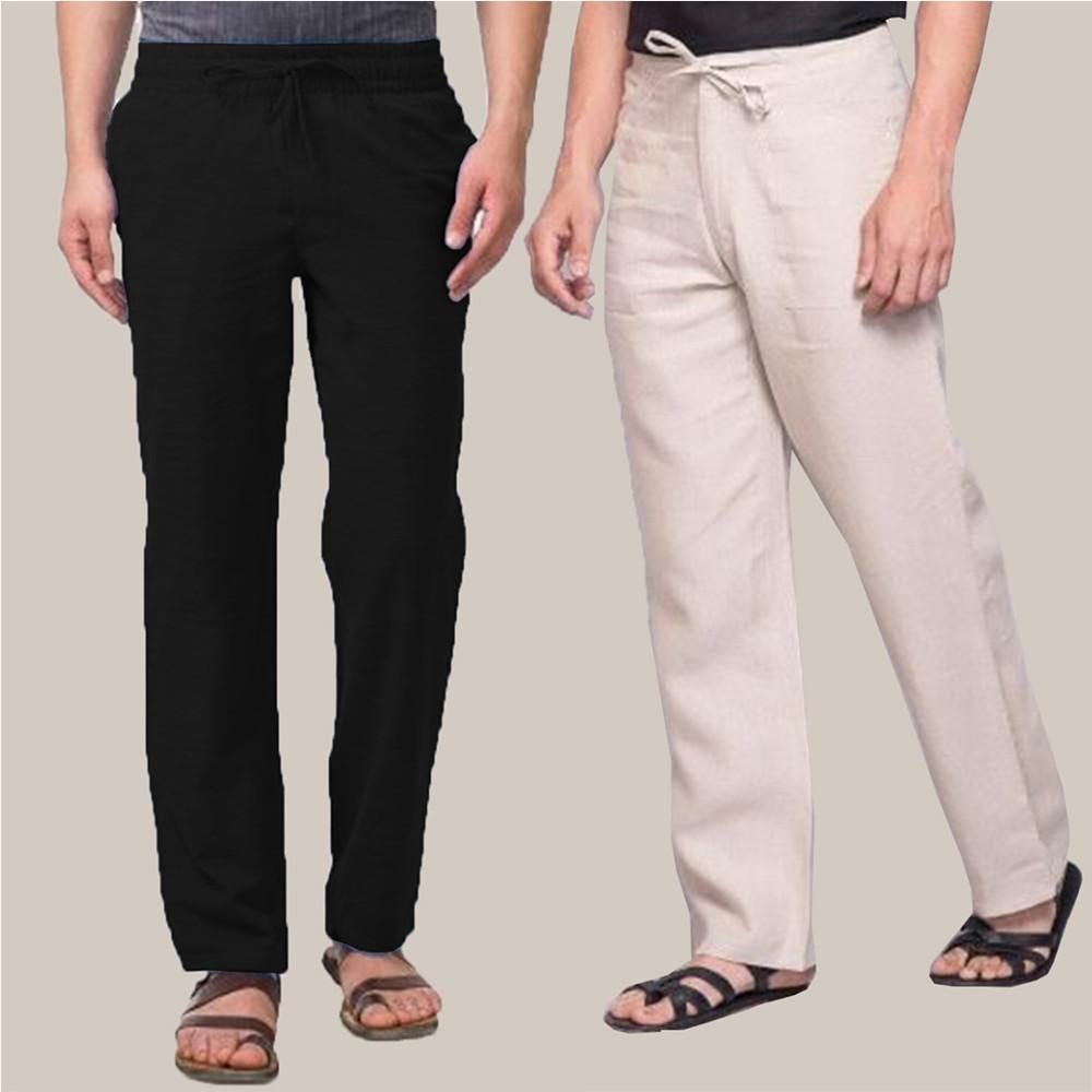 Combo of 2 Cotton Men Handloom Pant Black and Beige-34895
