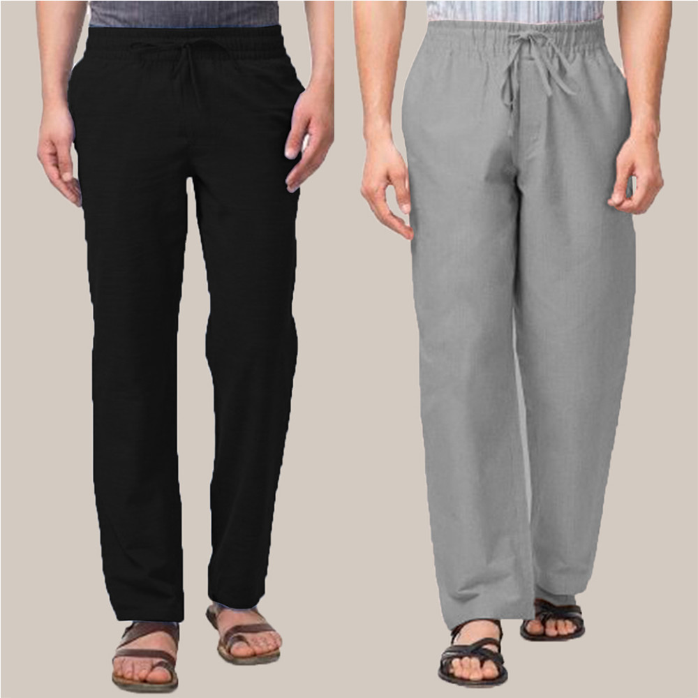 Combo of 2 Cotton Men Handloom Pant Black and Gray-34894
