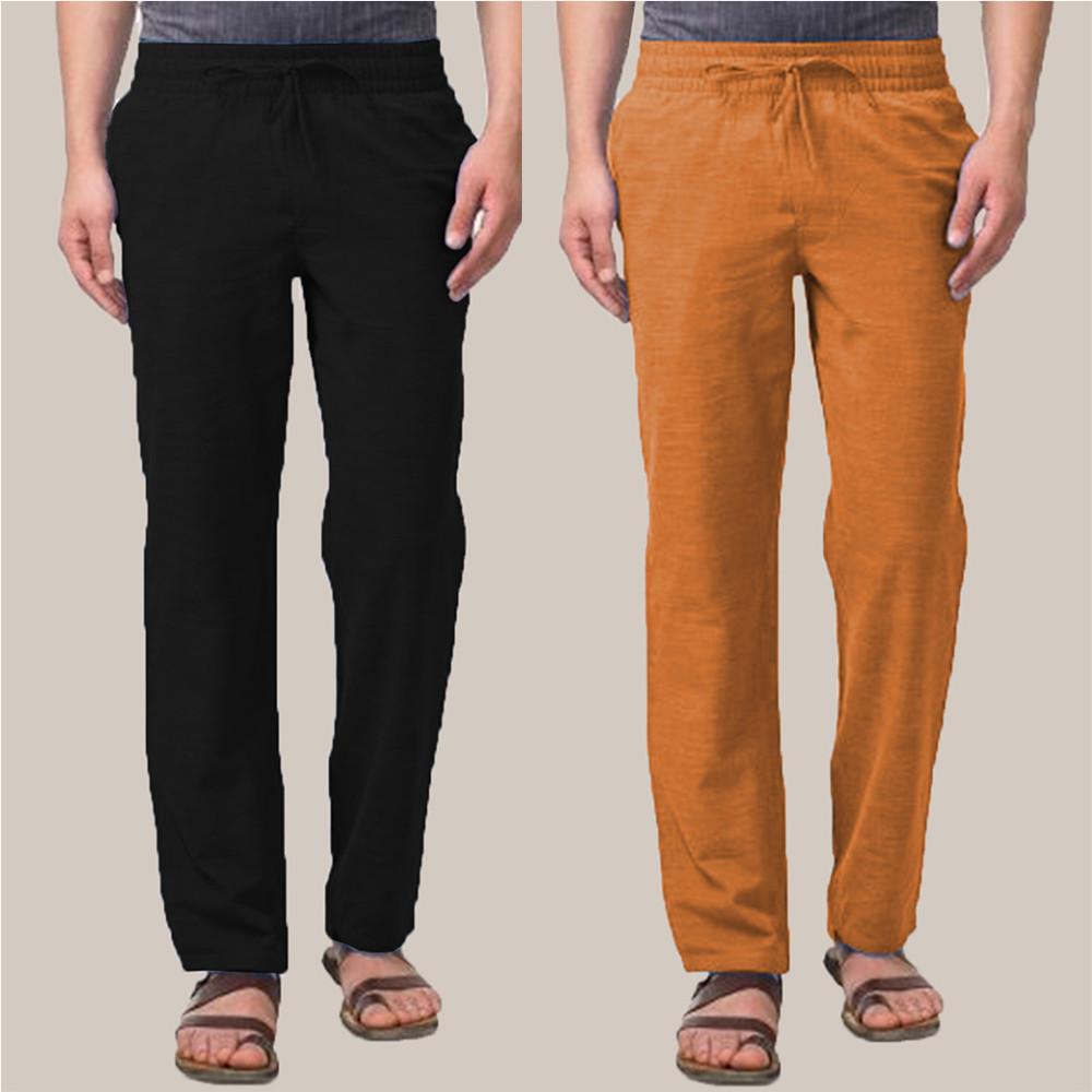 Combo of 2 Cotton Men Handloom Pant Black and Mustard-34898