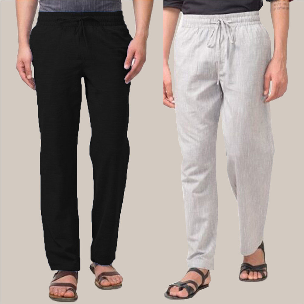 Combo of 2 Cotton Men Handloom Pant Black and White-34892