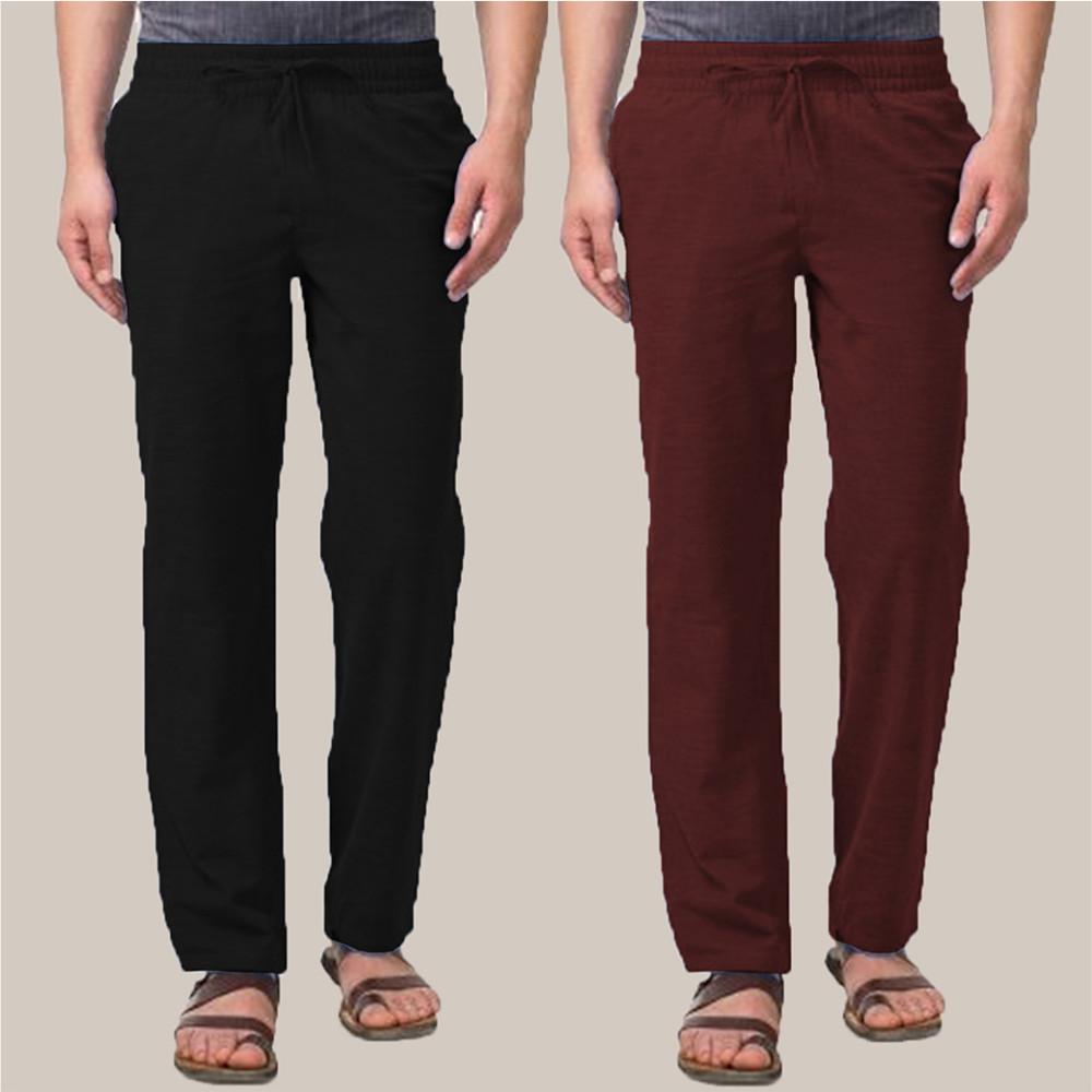 Combo of 2 Cotton Men Handloom Pant Black and Wine-34896